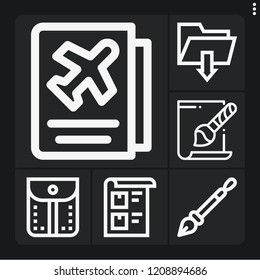 Set of 6 document outline icons such as svg file, bill, pen, pocket, passport