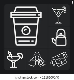 Set of 6 drink outline icons such as cosmopolitan, coffee cup, kettle, liter, cocktail