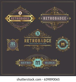 set of 6 elegant golden and pastel colored retro badges or labels - perfect as logos, for packaging and other branding purposes as well as for greeting and invitation cards