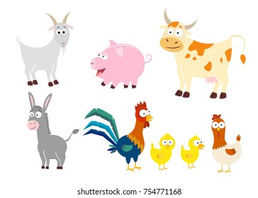 Set of 6 farm animals in a cartoon style. Animals vector illustration isolated on white background. Goat,  cow,  pig, donkey, rooster, hen,  chicken.