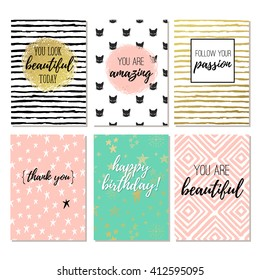 Set of 6 fashion design printable greeting cards