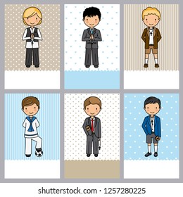 set of 6 first communion boy cards