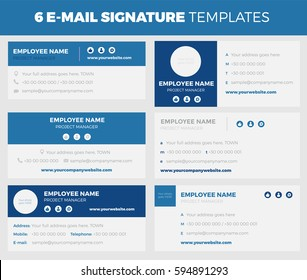 Set of 6 flat and modern e-mail signature templates