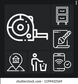Set of 6 flat outline icons such as phone, ruler, gps, trash, svg file