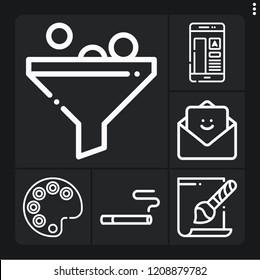 Set of 6 flat outline icons such as filter, svg file, palette, cigarette, feedback