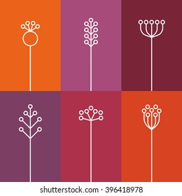 Set of 6 Flowers, flat, lines