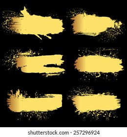Set of 6 gold grunge elements. Hand drawn banners or brush. Vector illustration.