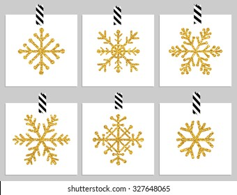 Set of 6 gold textured snowflakes on cards. Happy holiday and merry cristmas cards. Vector illustration