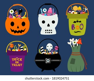 Set of 6 Halloween trick or treat bags. Bucket, cauldron, pumpkin, skull, pouch full of spooky sweets and candies. Trick or treat kids buckets. Vector illustration isolated on white. Design elements.