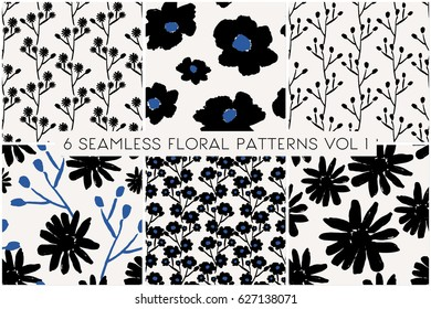 A set of 6 hand painted floral patterns in black and blue on cream background. Seamless abstract repeat textile, gift wrap, wall art design.