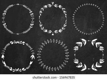 Set of 6 hand-draw chalk vector victory laurel wreaths for stationary on a black chalkboard background