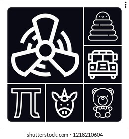 Set of 6 happy outline icons such as school bus, fan, pi, unicorn, rings