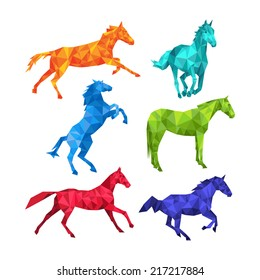 Set of 6 horse silhouettes