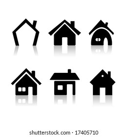 Set of 6 house icon variations