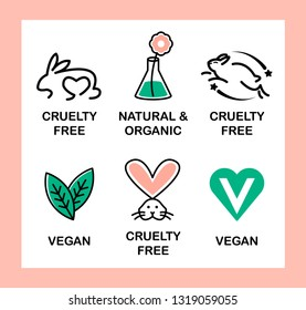 Set of 6 icons-badges: Vegan, Cruelty Free, Organic and Natural. Pink and green.