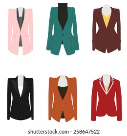 Set of 6 illustration business women suit