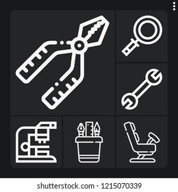 Set of 6 instrument outline icons such as pliers, pencil case, spanner, microscope, zoom