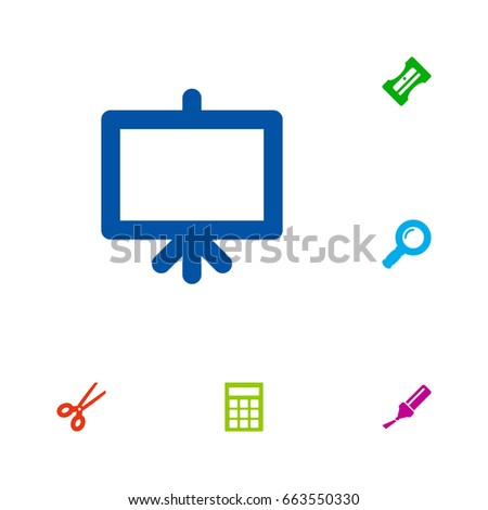Set 6 Instruments Icons Set Collection Whiteboard Stock