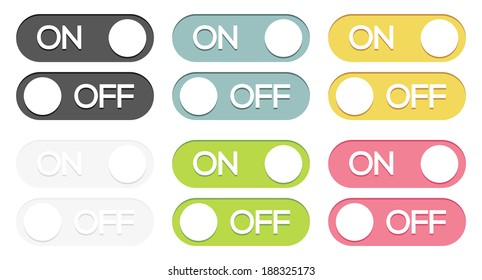 Set of 6 isolated colorful on - off switches
