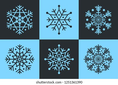 Set Of 6 Isolated Snowflakes Six Pointed And Eight Unique Icons