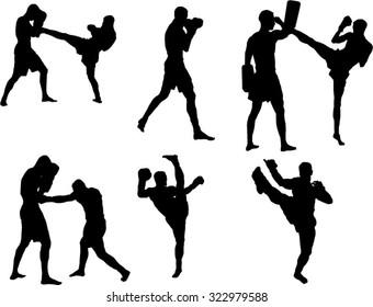 The set of 6 Kickbox silhouette
