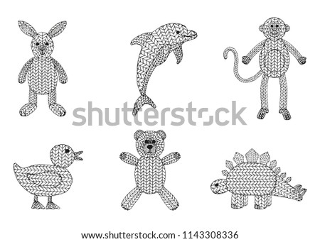 Set 6 Knitted Toy Animal Vectors Stock Vector Royalty Free