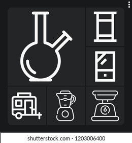 Set of 6 lifestyle outline icons such as caravan, bong, closet, bed, blender