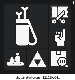 Set of 6 line filled icons such as arrow, barcode, zelda, conveyor, scissors