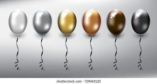 Set of 6 metallic helium balloons. Inflatable air flying balloons. Isolated with realistic transparent glass shine and shadow on the light background. Vector illustration. Eps10.