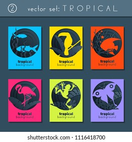 set of 6 minimalistic papercut designs with a tropical animals theme. US Letter size. (eps10)