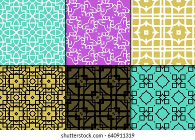 set of 6 modern geometric pattern. Seamless vector illustration