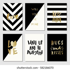 A set of 6 modern and stylish greeting card templates in black, white and gold.
