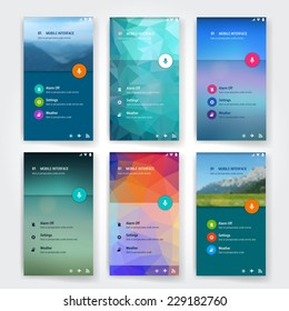 Set of 6 modern user interface (ux, ui) screen template for mobile smart phone or web site. Transparent blurred material design ui with icons.