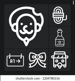 Set of 6 old outline icons such as rickshaw, gate, don quixote, wine, rope