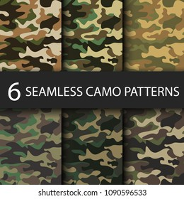 Set of 6 pack Camouflage seamless patterns background with black shadow. Classic clothing style masking camo repeat print. Bright colors of forest texture. Vector illustration web design and clothes.