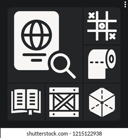 Set of 6 paper filled icons such as cube, box, toilet paper, tic tac toe, passport