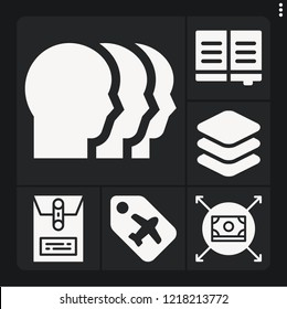 Set of 6 paper filled icons such as book, money, dossier, label, layers
