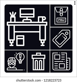 Set of 6 paper outline icons such as tag, news, dossier, desk, architect