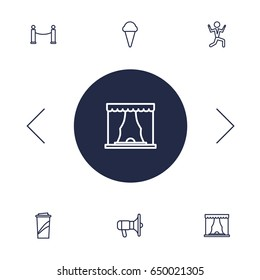 Set Of 6 Pleasure Outline Icons Set.Collection Of Bullhorn, Dancing Man, Barrier Rope And Other Elements.