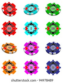 A set of 6 poker chips. I included a flat image and a 3D render. The image on the chip can be imported as a symbol for use in 3D renders (if your software supports it).