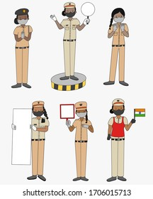 Set of 6 police woman from Indian wearing protective mask for Covid-19. Vector set cartoons of Indian police. Woman with uniform and whiteboard.