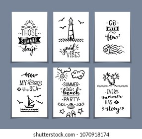 Set of 6 pre-made sea / ocean greeting cards. Unique calligraphic quotes and phrases written by brush. Black and white doodle illustrations. Ready-to-use prints for you.