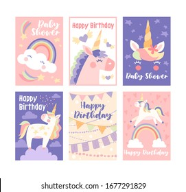 Set of 6 pretty muted birthday cards and baby shower greeting cards with unicorns and rainbows in shades of pink and blue, vector illustration
