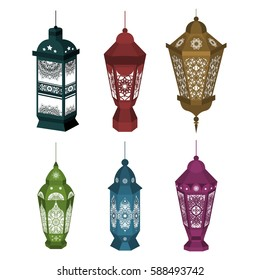 Set of 6 Ramadan Kareem Lanterns. Vector