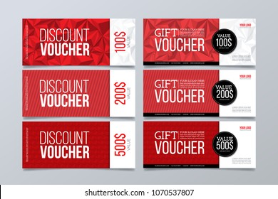 Set of 6 red banner background.Gift and discount voucher design template.