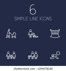Set of 6 relatives icons line style set. Collection of perambulator, cot, creep baby and other elements.