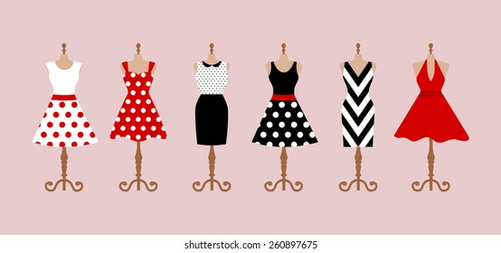 Set of 6 retro pinup cute woman dresses on a mannequin. Short and long elegant black, red and white color polka dot design lady dress collection. Vector art image illustration, isolated on background