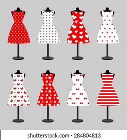 Set of 6 retro pinup cute woman dresses on a black plastic mannequin. Short elegant, red and white color polka dot design lady dress collection. Vector art image illustration, isolated on background