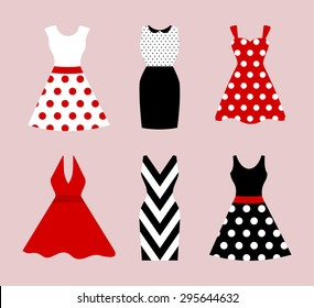 Set of 6 retro pinup cute woman dresses. Short and long elegant black, red and white color polka dot design lady dress collection. Vector art image illustration, isolated on background