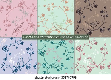 Set of 6 retro seamless floral background with birds on branches